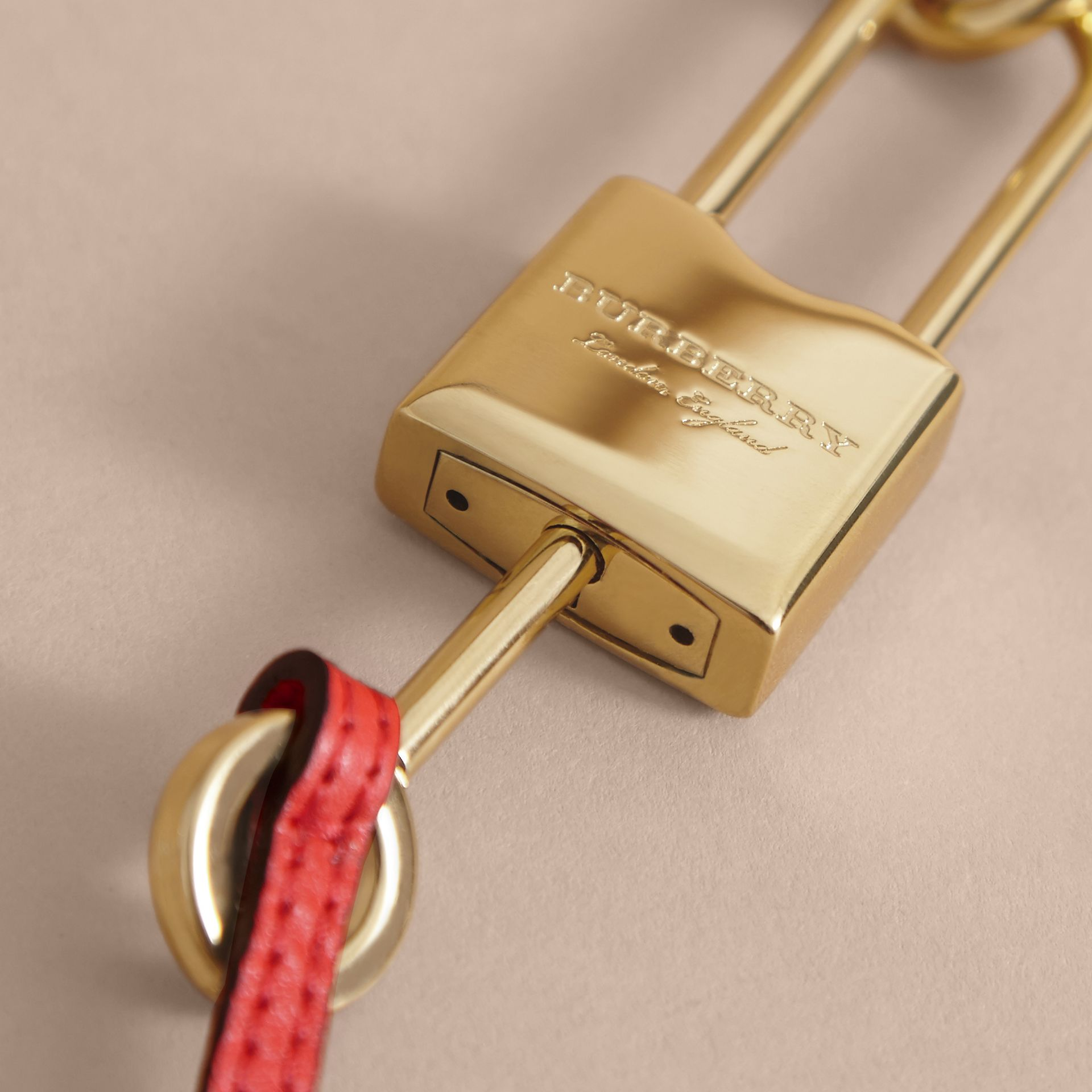 Beasts Leather Key Charm and Padlock in Amber Yellow - Women | Burberry - gallery image 2