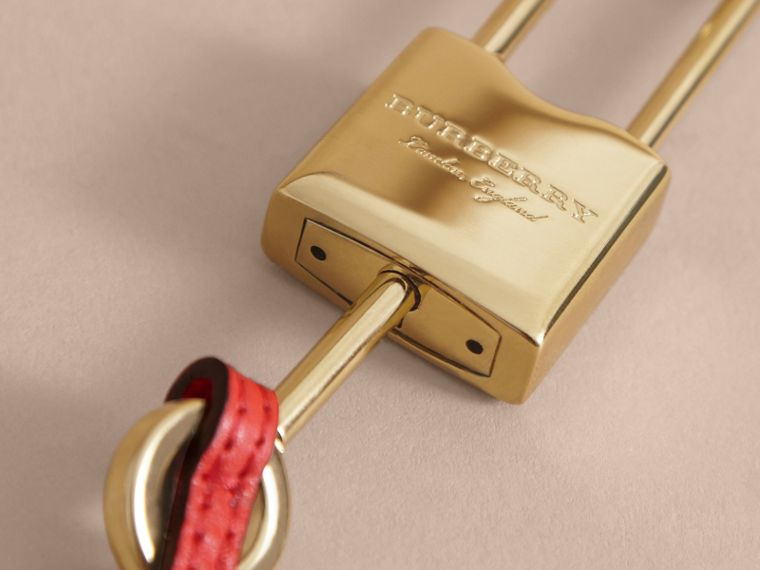 Beasts Leather Key Charm and Padlock in Amber Yellow - Women | Burberry - cell image 1