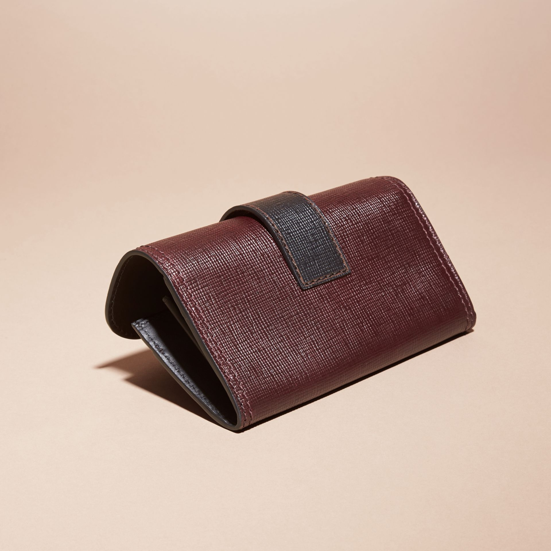 Burgundy/black Textured Leather Continental Wallet - gallery image 4