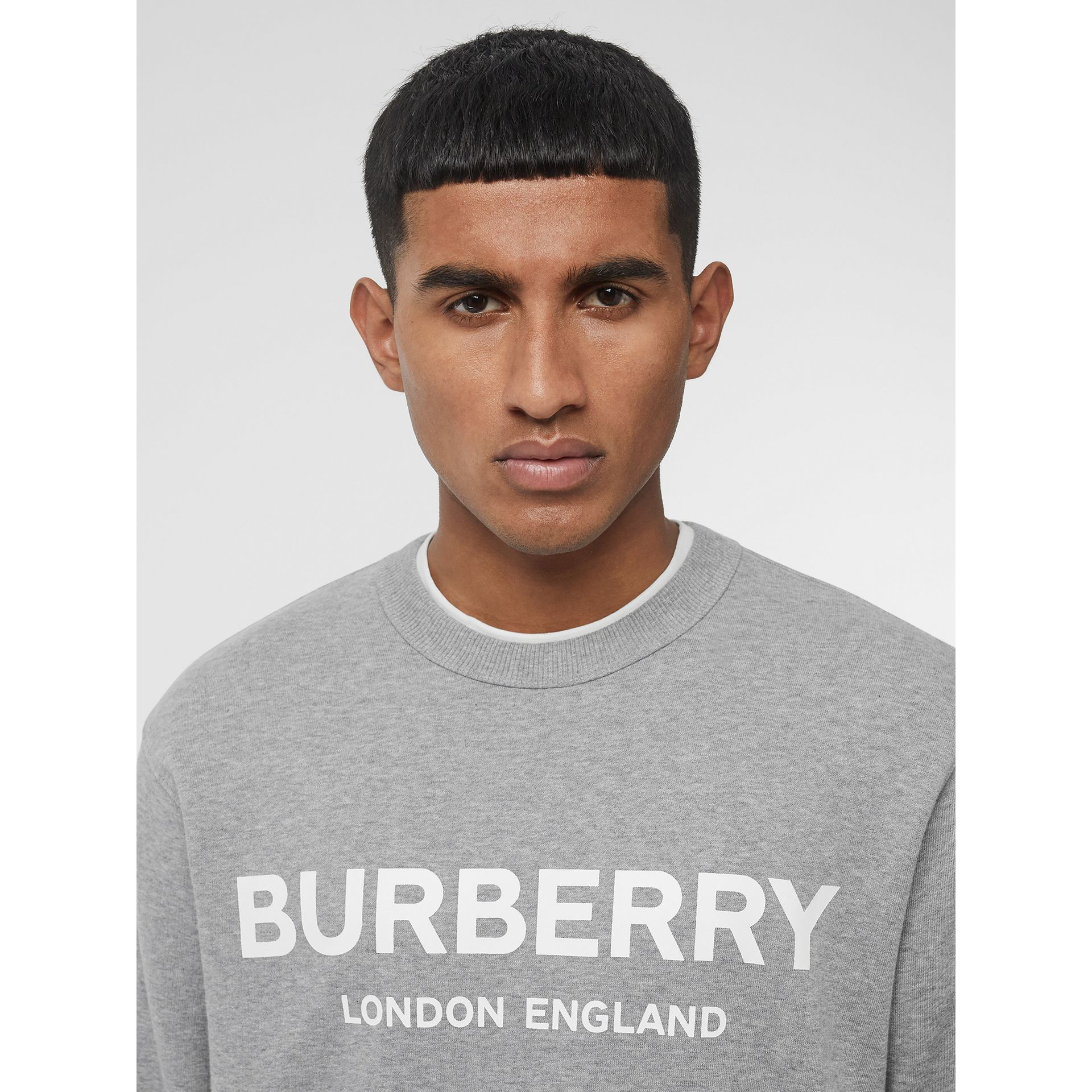 Logo Print Cotton Sweatshirt in Pale Grey Melange - Men | Burberry Singapore - gallery image 1