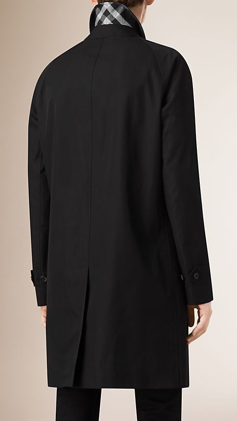 Black Cotton Gabardine Car Coat - Image 3