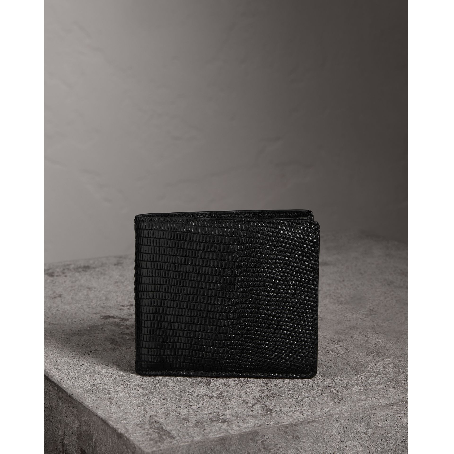 Lizard International Bifold Wallet in Black - Men | Burberry Hong Kong - gallery image 0