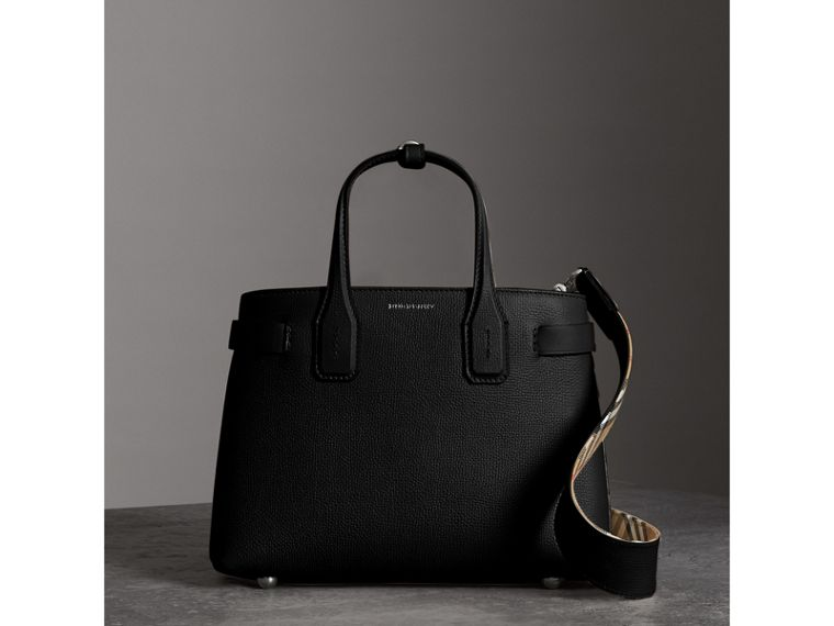 The Small Banner in Leather in Black - Women | Burberry Singapore - cell image 4
