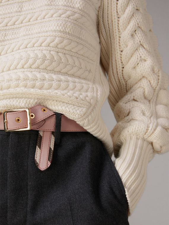 House Check and Grainy Leather Belt in Camel/pale Orchid - Women | Burberry Hong Kong - cell image 3