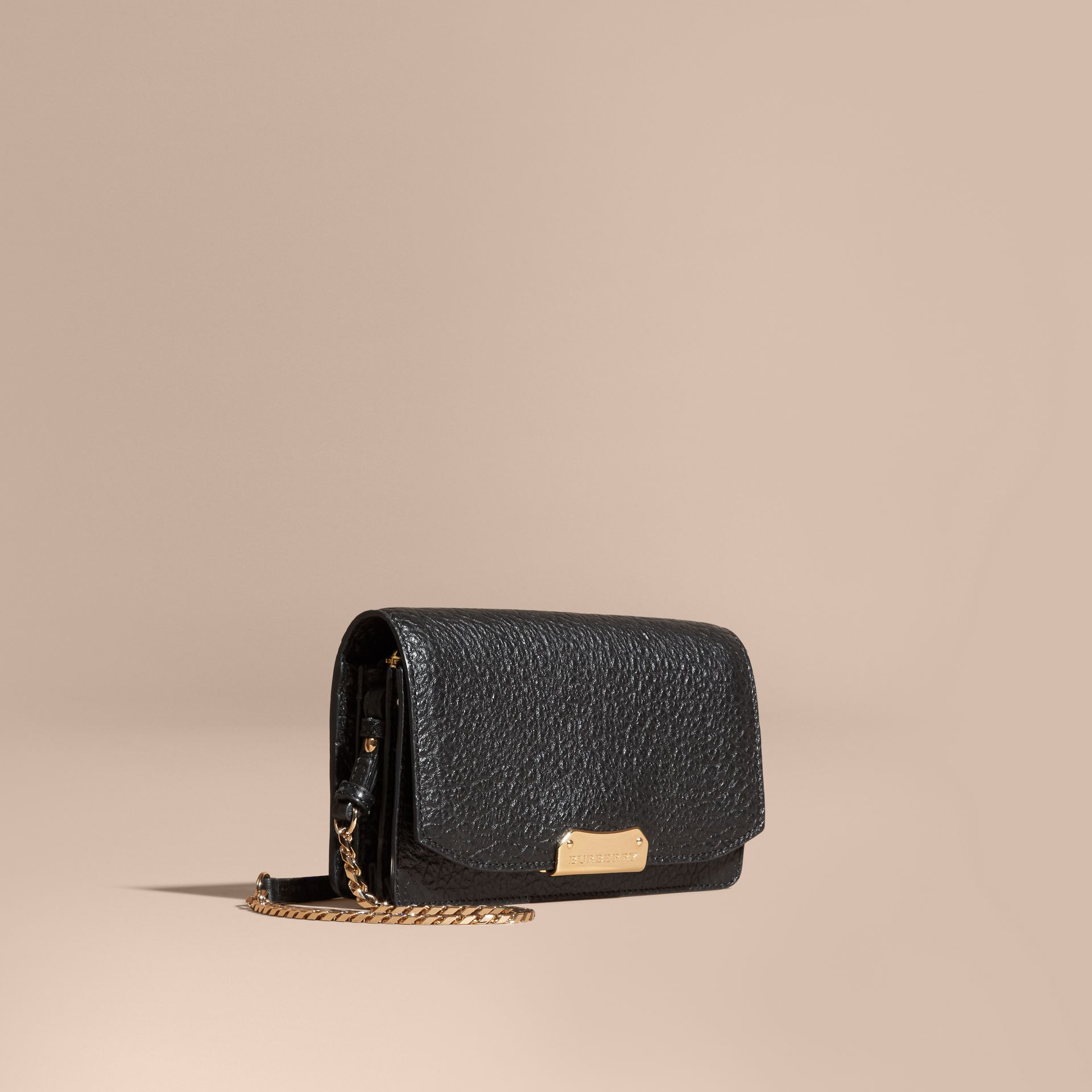 Black Small signature Grain Leather Clutch Bag with Chain Black - gallery image 1