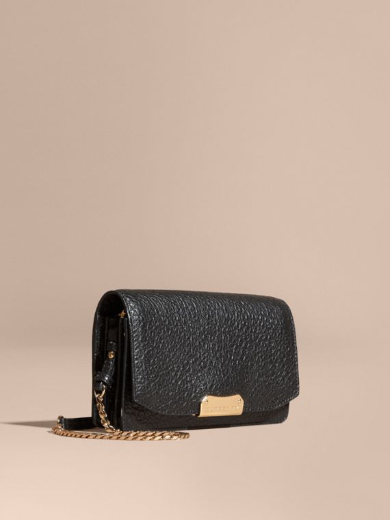 Small signature Grain Leather Clutch Bag with Chain Black