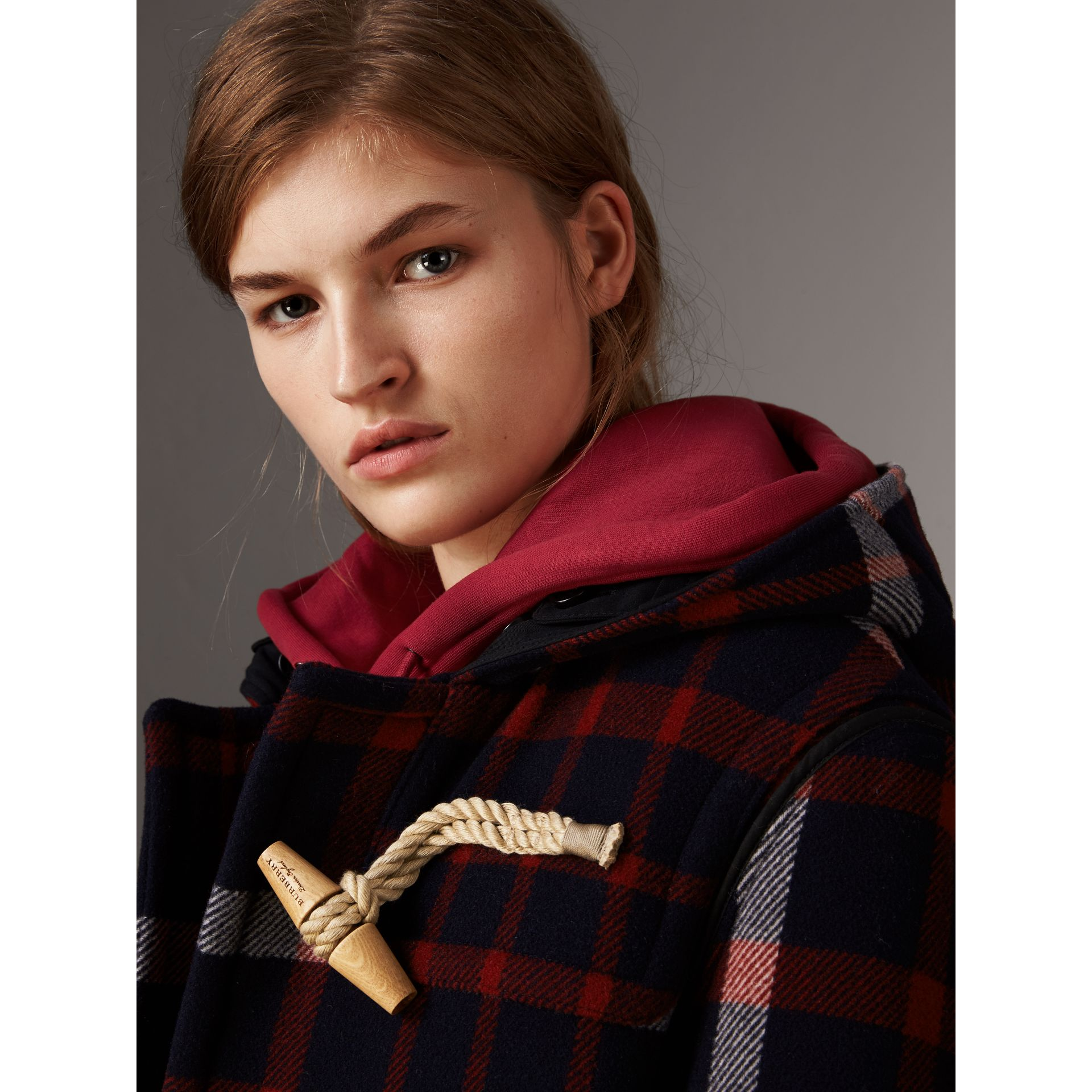 Check Wool Duffle Coat with Detachable Warmer in Navy/black - Women | Burberry Australia - gallery image 1