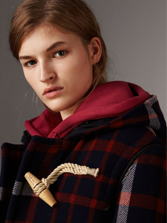 Check Wool Duffle Coat with Detachable Warmer in Navy/black - Women | Burberry - cell image 1