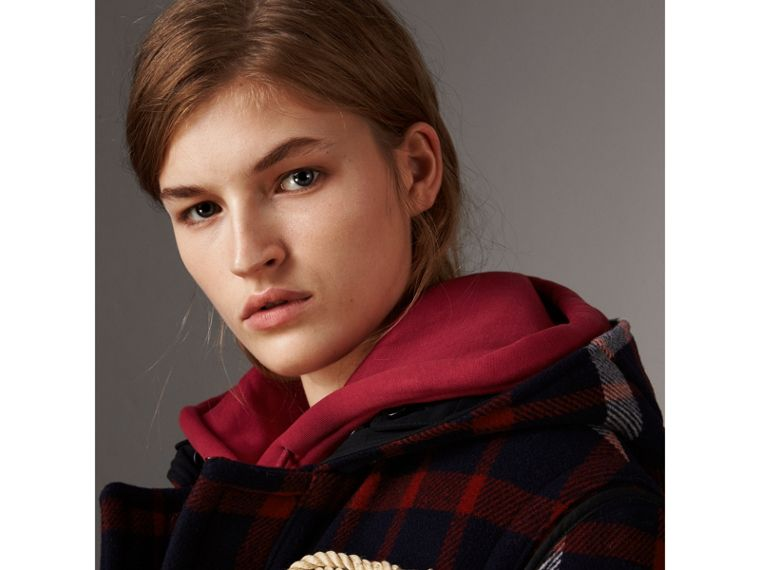 Check Wool Duffle Coat with Detachable Warmer in Navy/black - Women | Burberry Australia - cell image 1