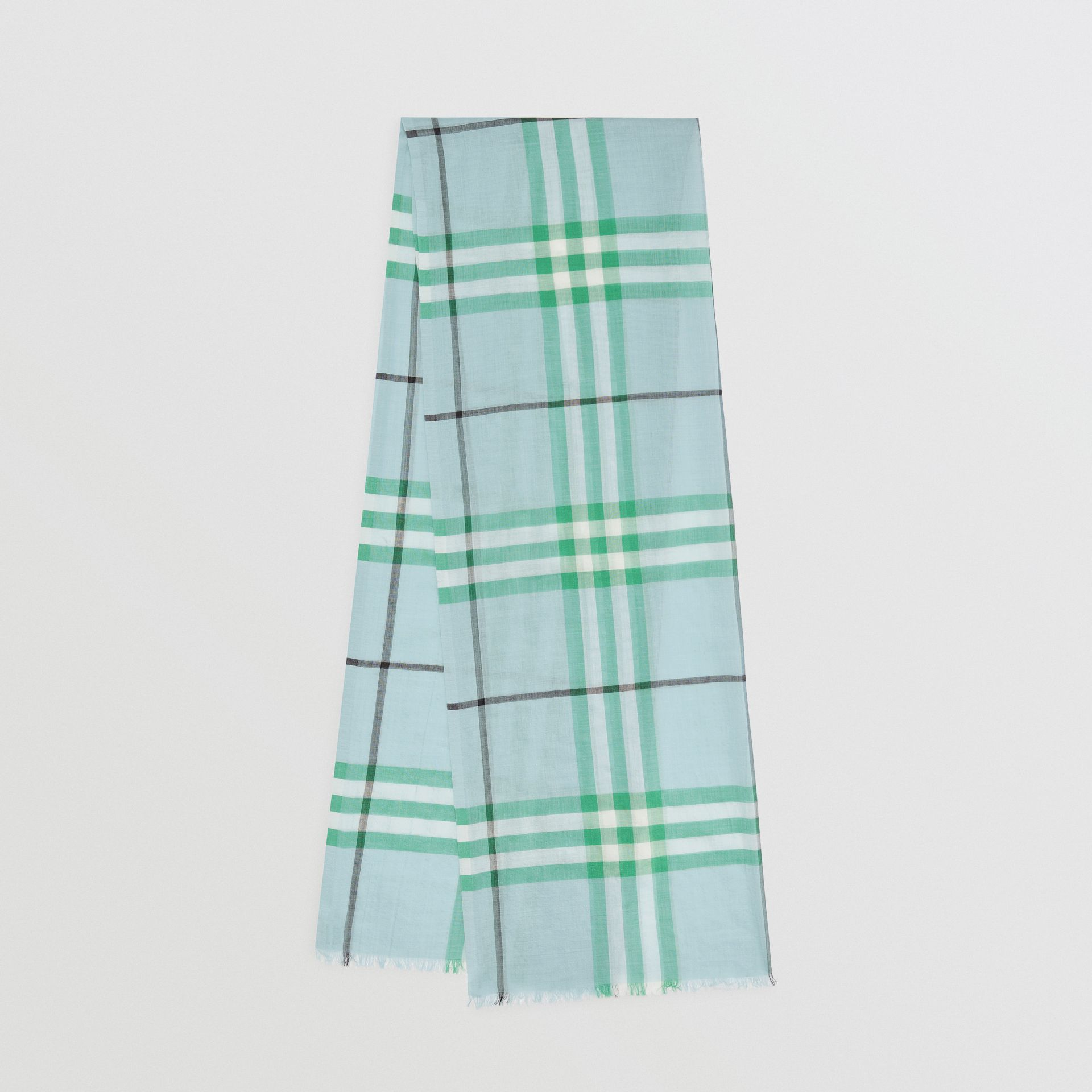 Lightweight Check Wool and Silk Scarf in Pale Peridot Blue | Burberry Australia - gallery image 0