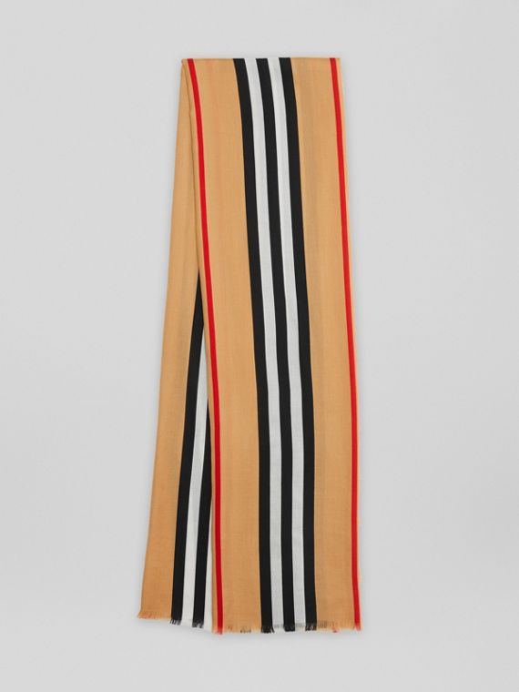 Icon Stripe Lightweight Cashmere Scarf in Chalk White