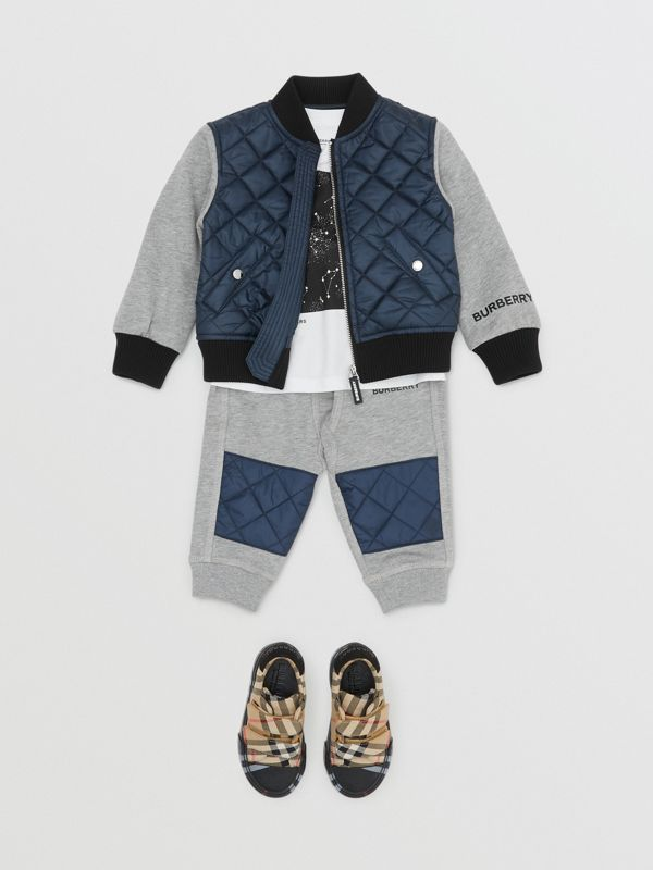 Contrast Sleeve Diamond Quilted Bomber Jacket in Grey Melange - Children | Burberry - cell image 2