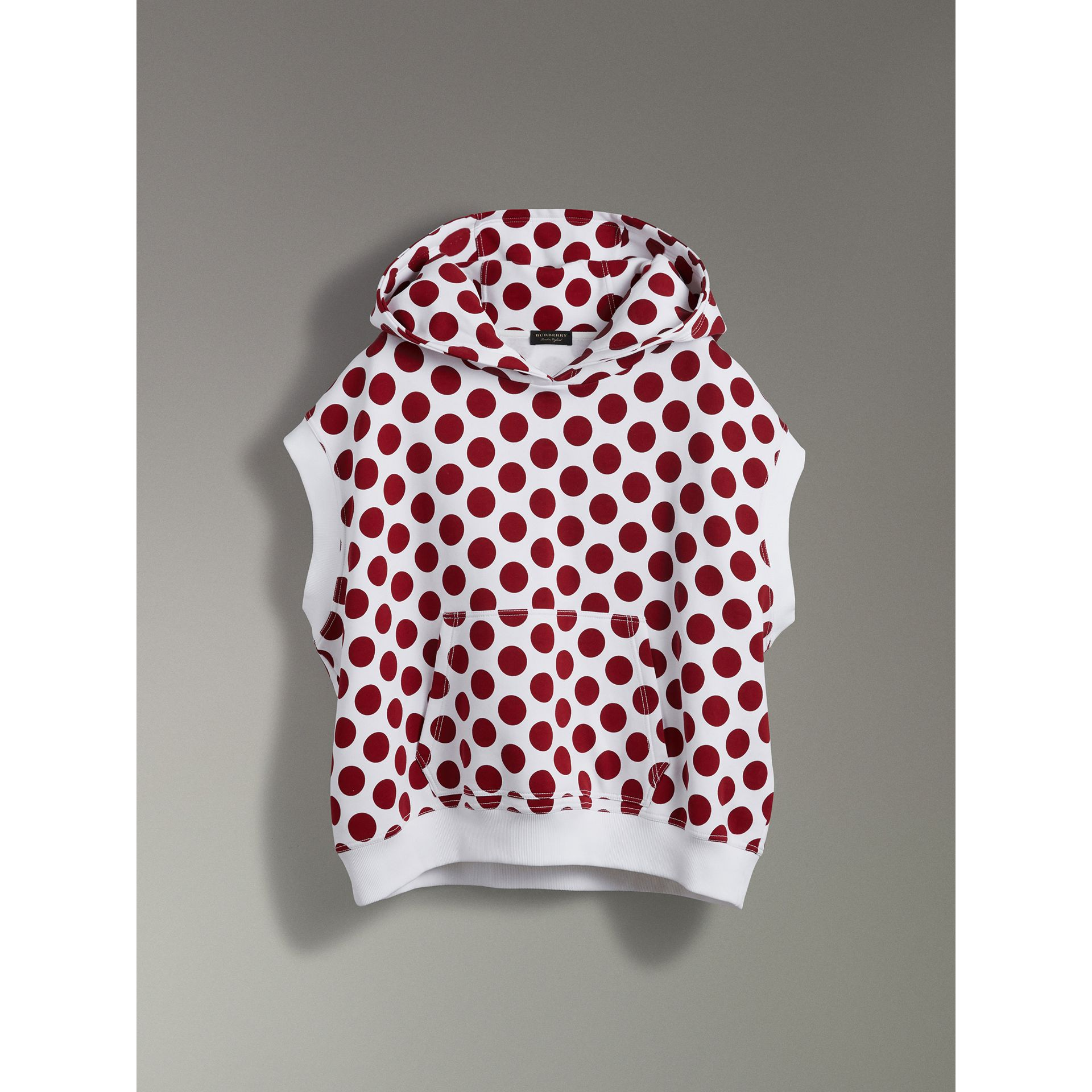 Spot Print Sleeveless Hoodie in Windsor Red - Women | Burberry - gallery image 3