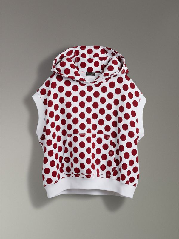 Spot Print Sleeveless Hoodie in Windsor Red - Women | Burberry - cell image 3