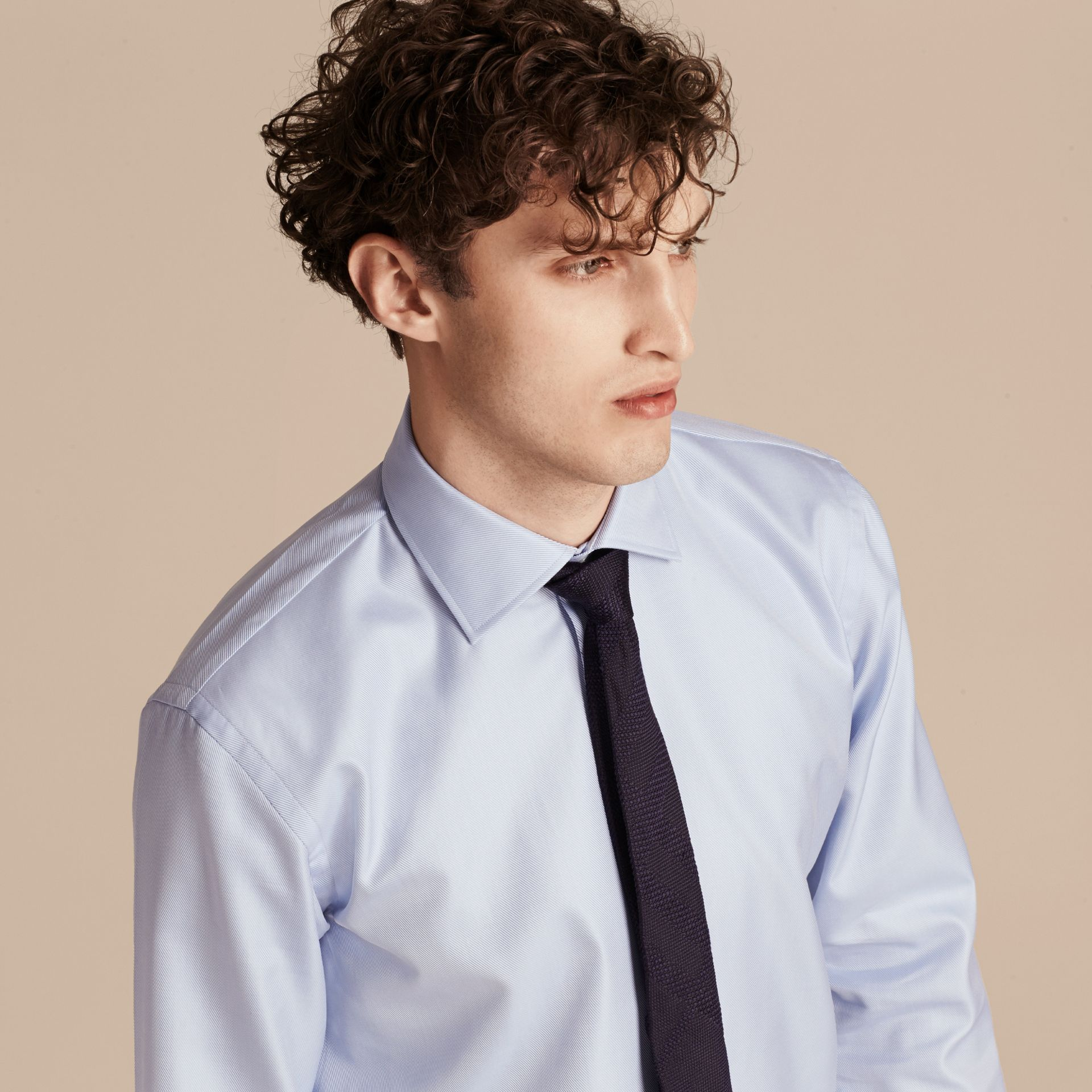 City blue Modern Fit Cotton Twill Shirt City Blue - gallery image 5