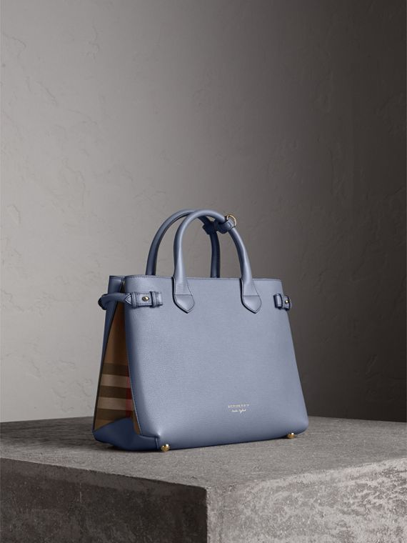 The Medium Banner in Leather and House Check in Slate Blue - Women | Burberry Australia