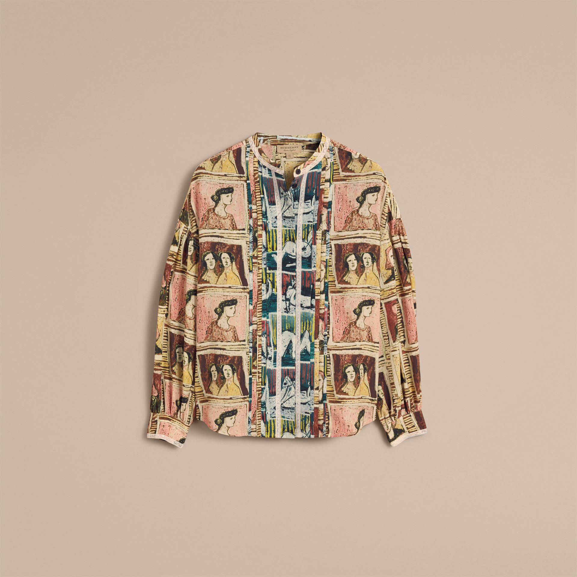 Framed Heads and Reclining Figures Print Silk Shirt in Umber Brown - Women | Burberry - gallery image 4
