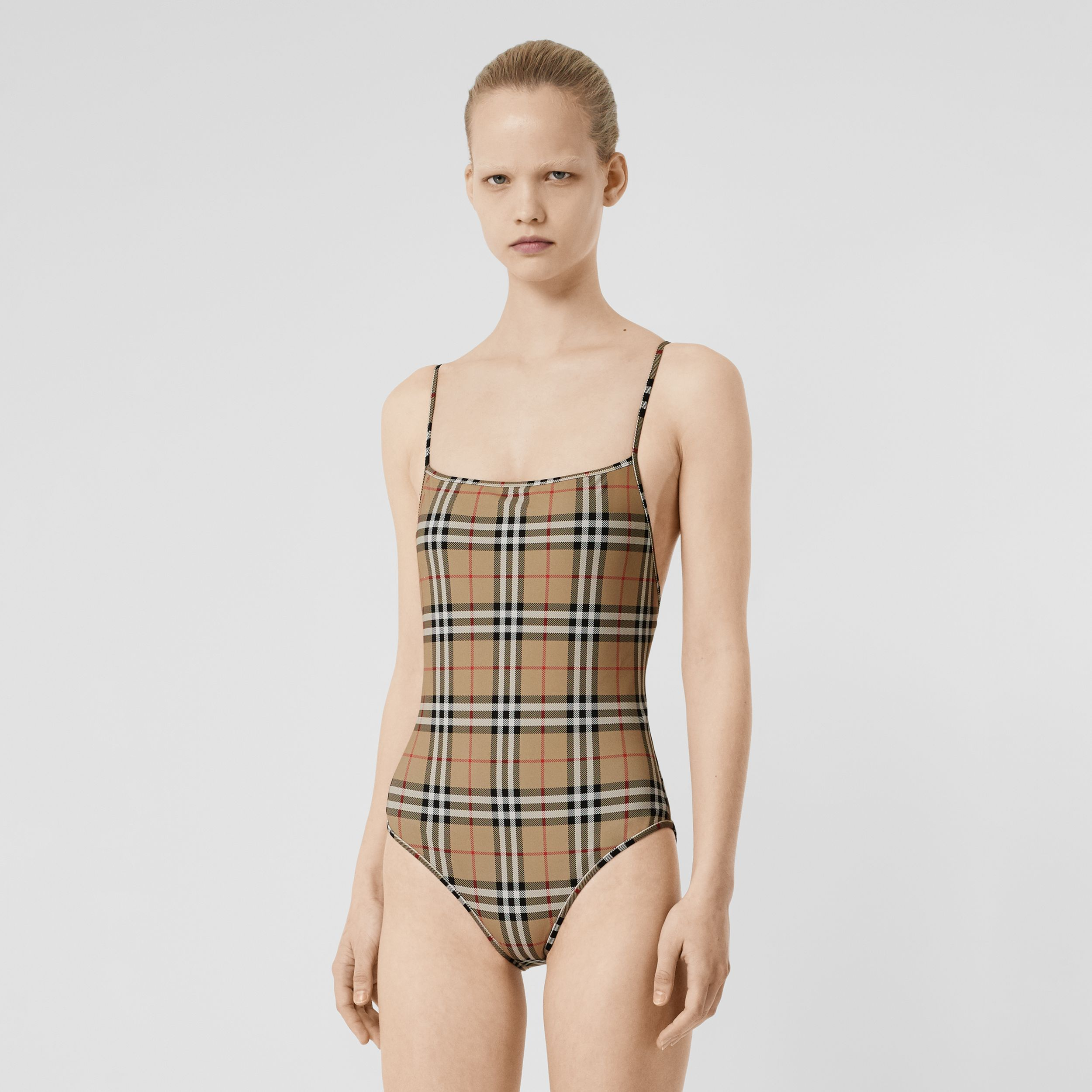 Vintage Check Swimsuit in Archive Beige - Women | Burberry - 1