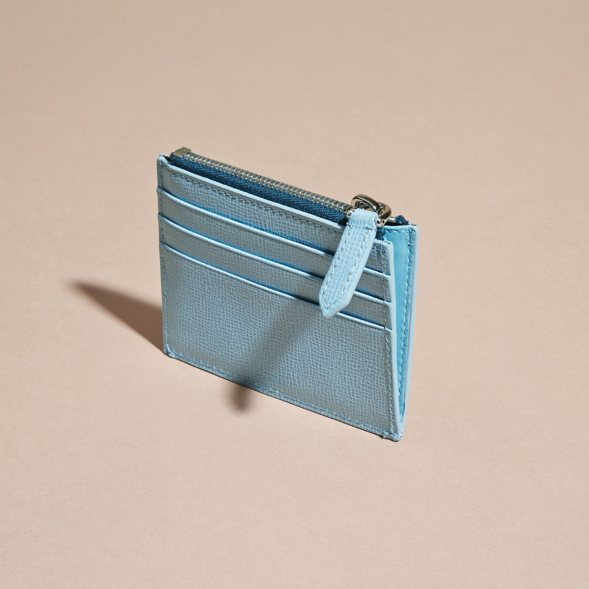 London Leather Zip-top Card Case Powder Blue - gallery image 5