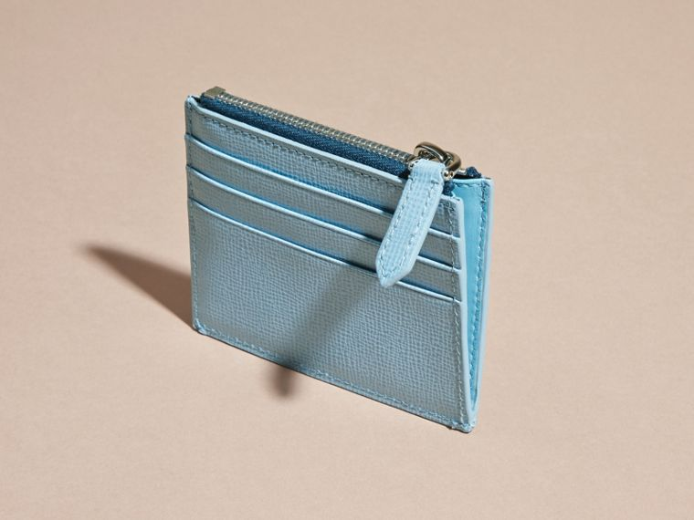 London Leather Zip-top Card Case Powder Blue - cell image 4