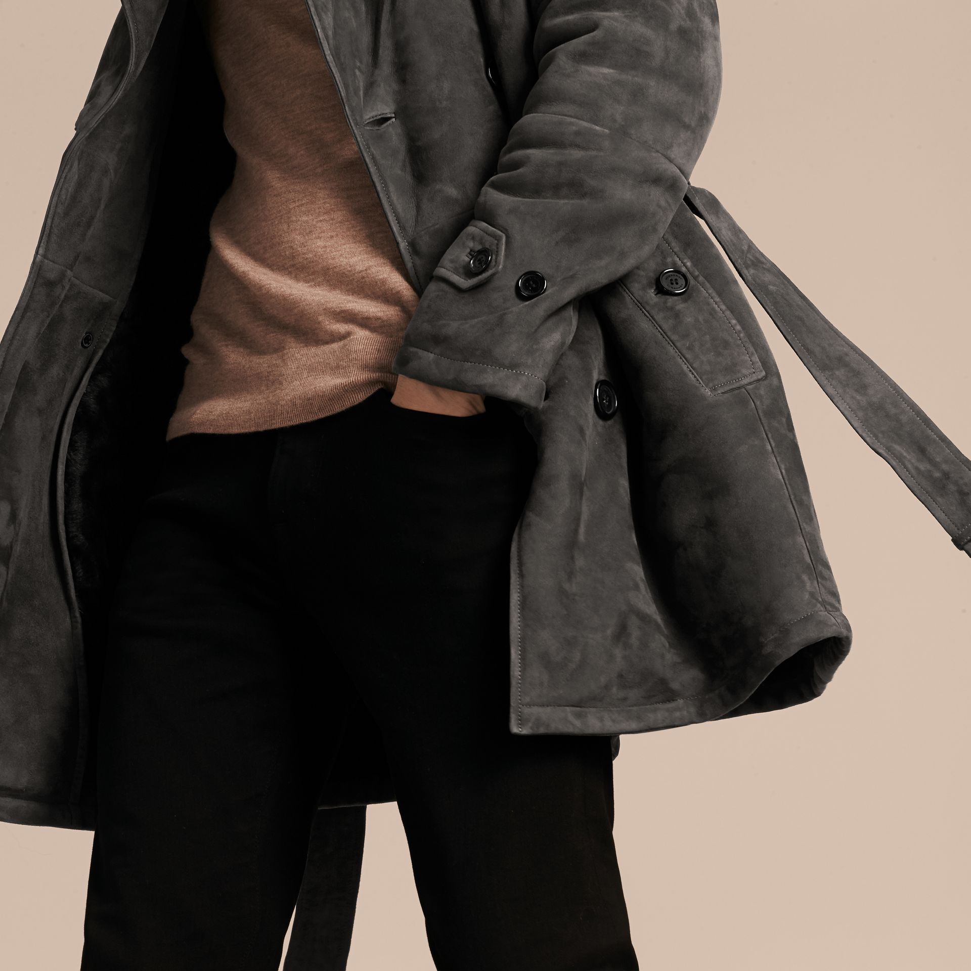 Charcoal Shearling Trench Coat - gallery image 6