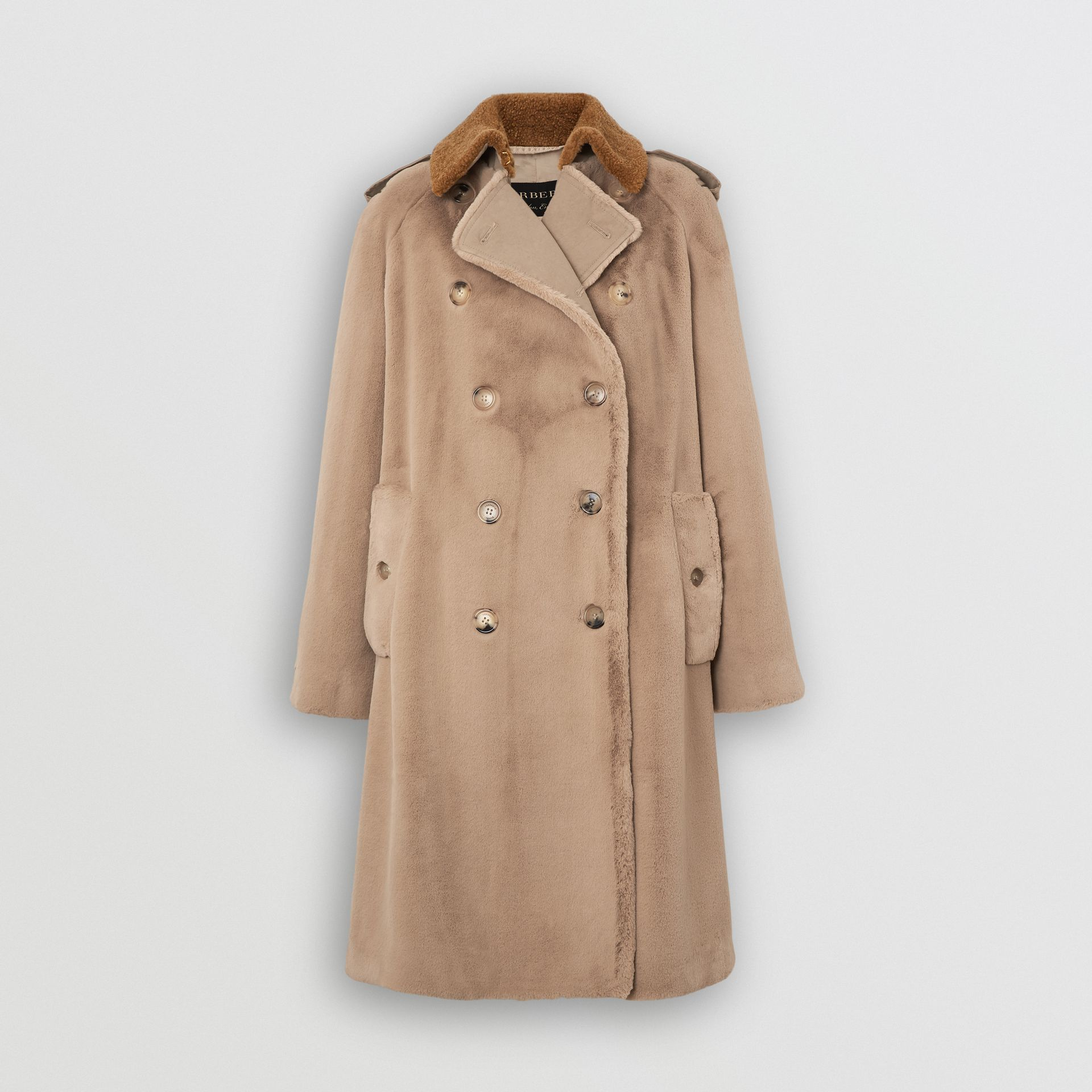 Shearling Trim Faux Fur Trench Coat in Taupe - Women | Burberry - gallery image 3