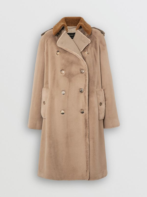 Shearling Trim Faux Fur Trench Coat in Taupe - Women | Burberry - cell image 3