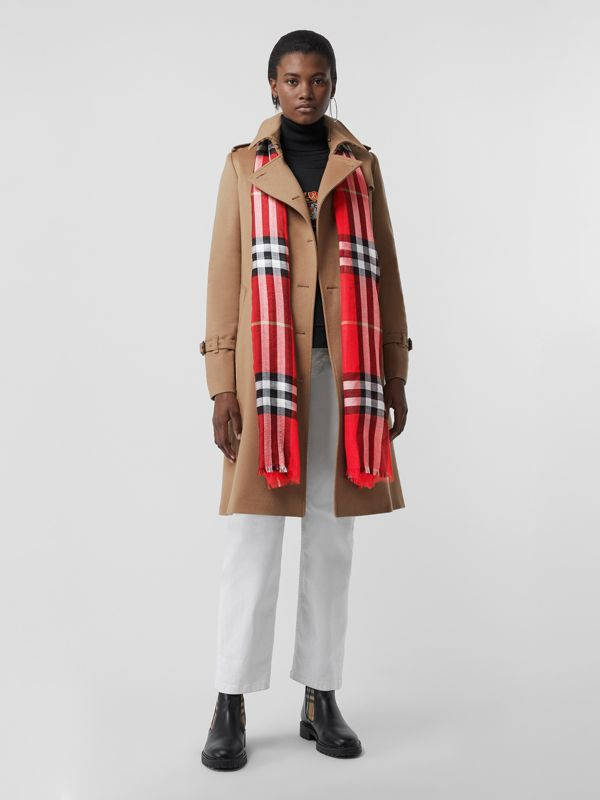Lightweight Check Wool and Silk Scarf in Bright Military Red | Burberry - cell image 2