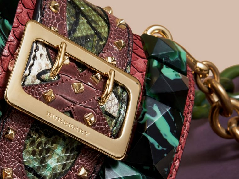 The Mini Square Buckle Bag in Velvet and Snakeskin Bordeaux - cell image 1