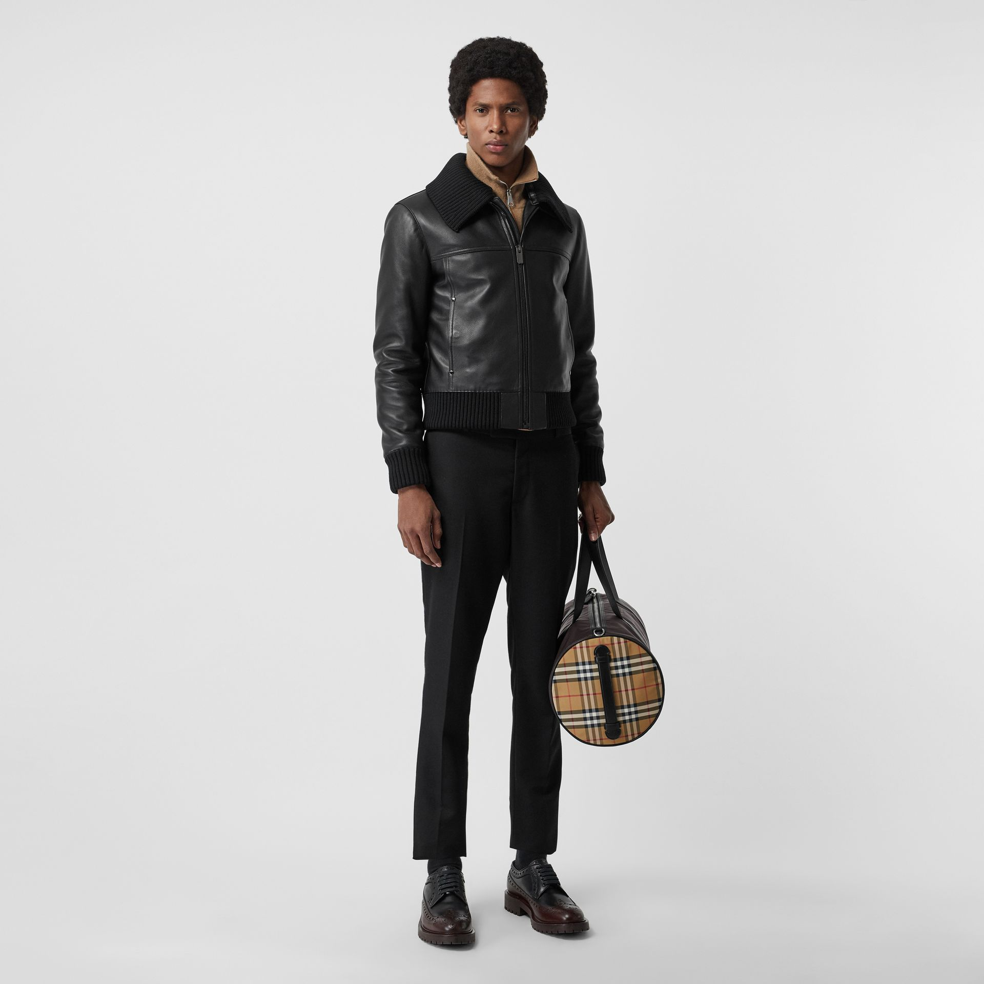 Detachable Collar Lambskin Bomber Jacket in Black - Men | Burberry - gallery image 0