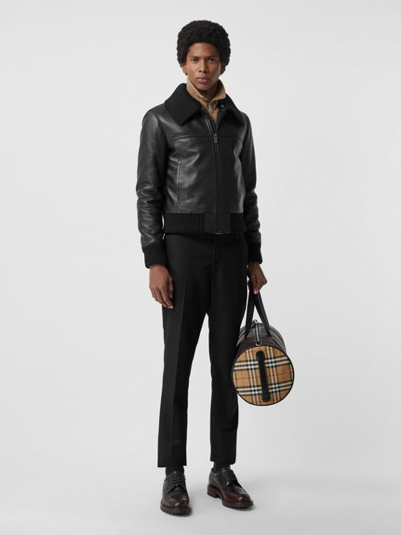 Detachable Collar Lambskin Bomber Jacket in Black