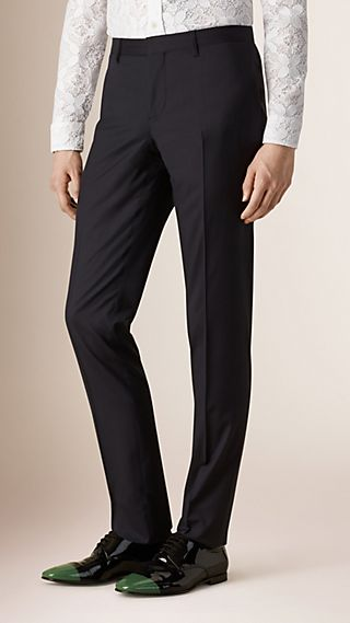 Slim Fit Wool Silk Tailored Trousers