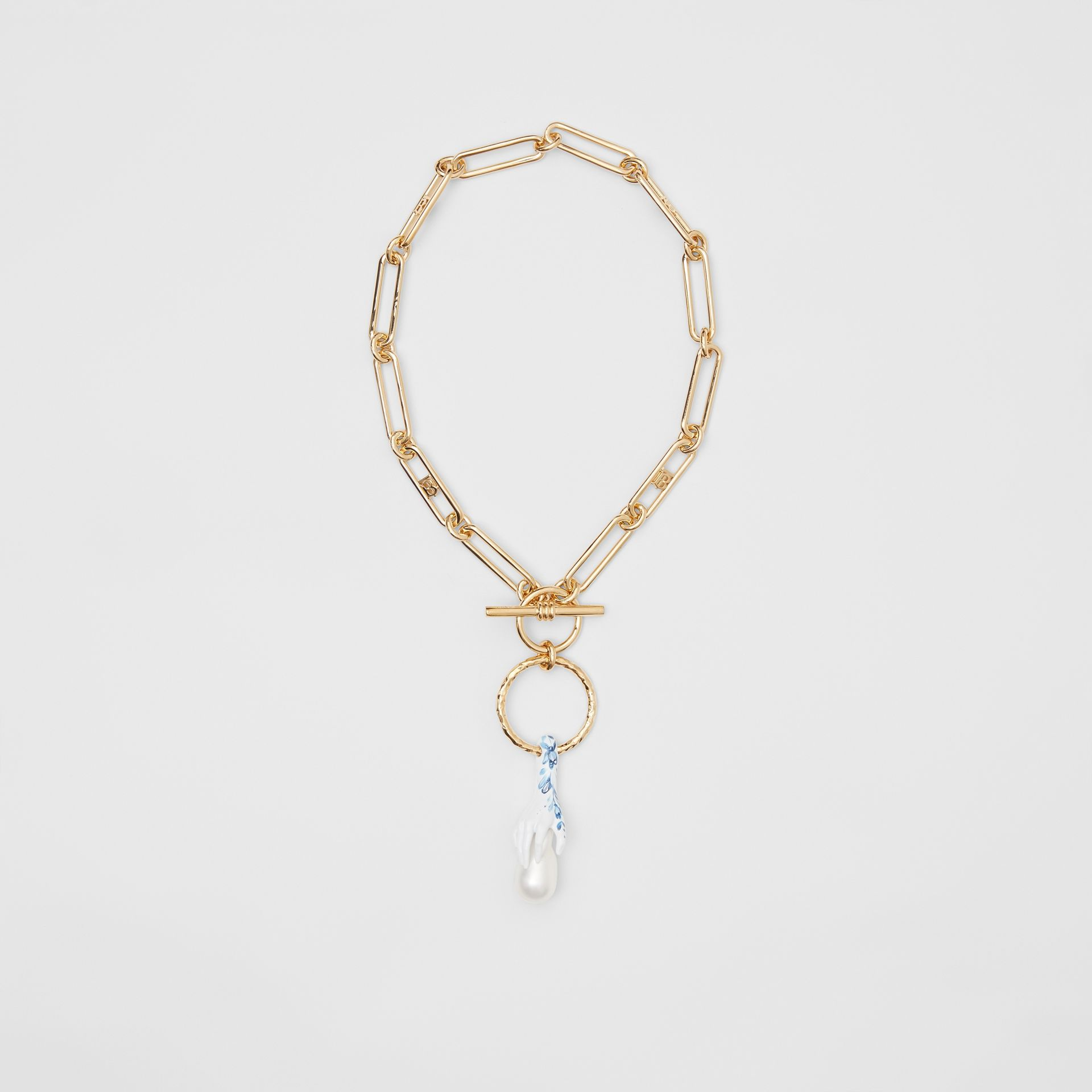 Faux Pearl Detail Gold-plated Chain Necklace in Light Gold/white/blue - Women | Burberry Canada - gallery image 0