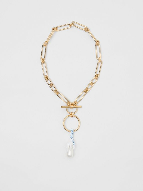 Faux Pearl Detail Gold-plated Chain Necklace in Light Gold/white/blue