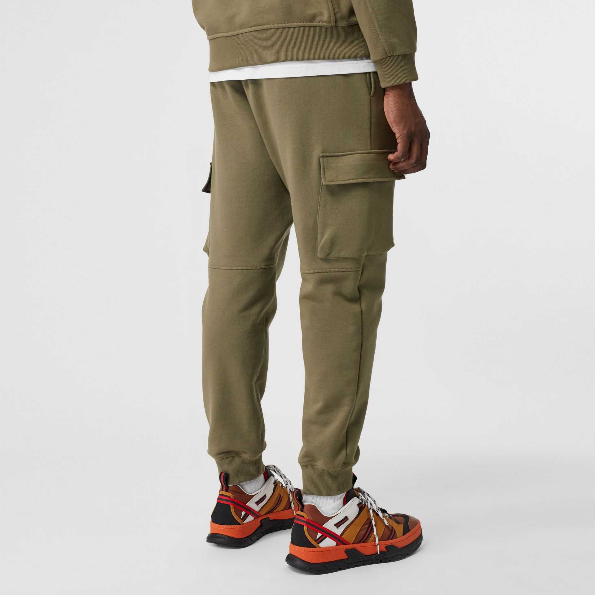 Logo Print Cotton Trackpants in Dark Moss - Men | Burberry - gallery image 2