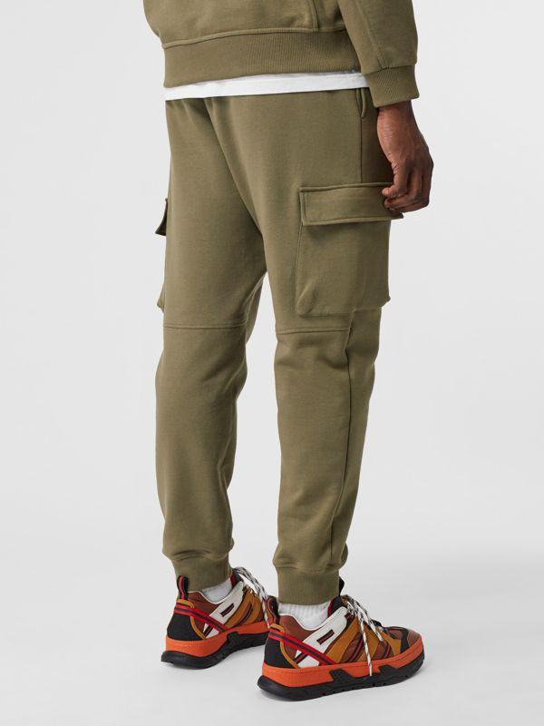 Logo Print Cotton Trackpants in Dark Moss - Men | Burberry - cell image 2