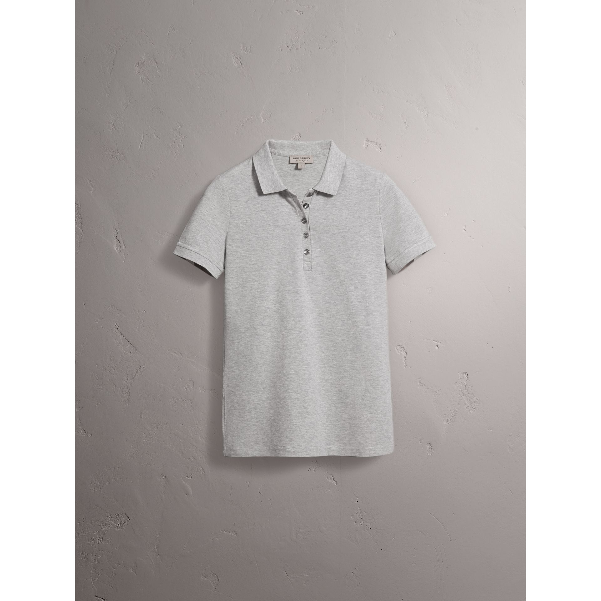 Check Trim Stretch Cotton Piqué Polo Shirt in Pale Grey Melange - Women | Burberry - gallery image 3