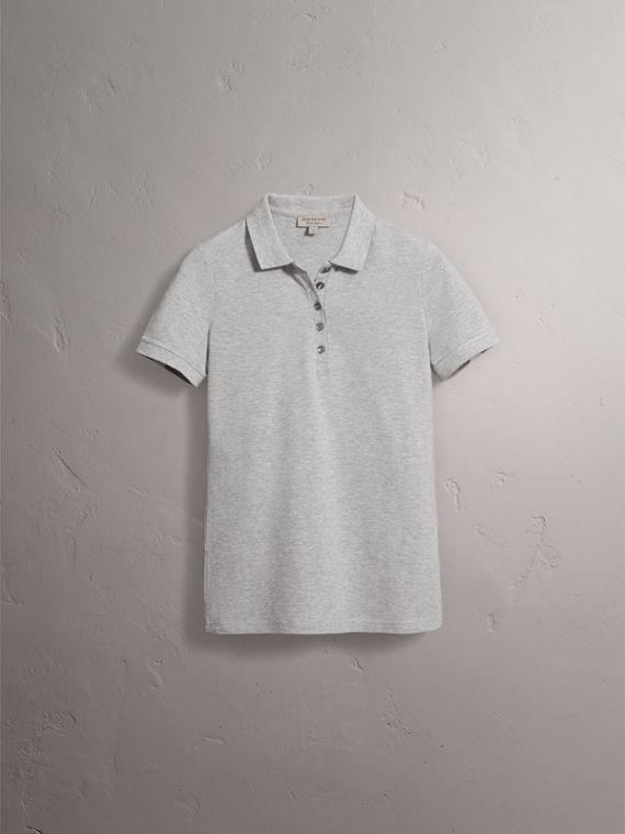 Check Trim Stretch Cotton Piqué Polo Shirt in Pale Grey Melange - Women | Burberry Canada - cell image 3