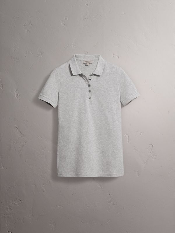 Check Trim Stretch Cotton Piqué Polo Shirt in Pale Grey Melange - Women | Burberry - cell image 3