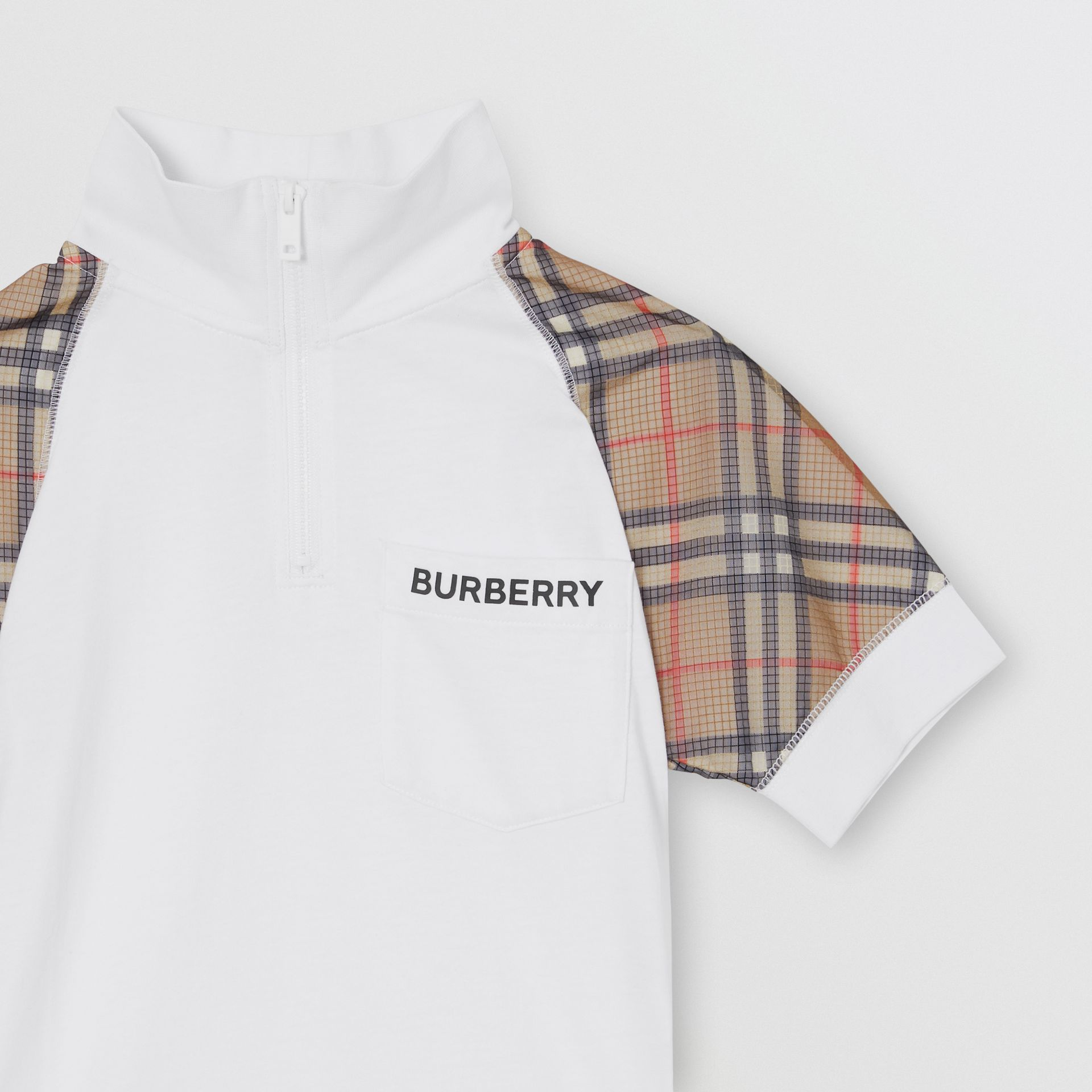 Check Detail Cotton Zip-front Polo Shirt in White | Burberry - gallery image 4