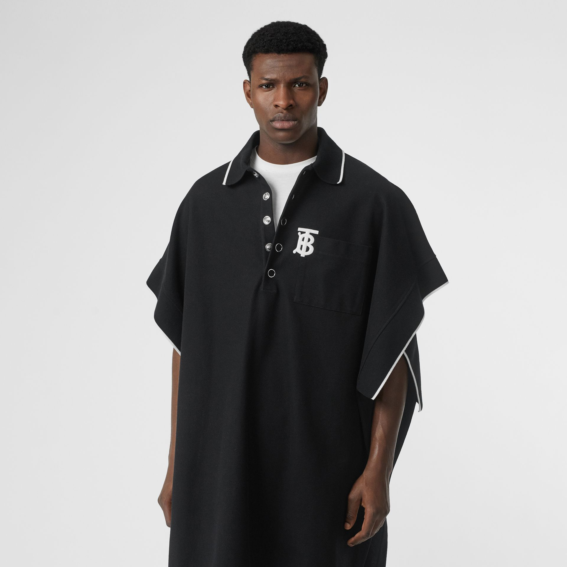 Monogram Motif Cotton Piqué Poncho in Black | Burberry - gallery image 5