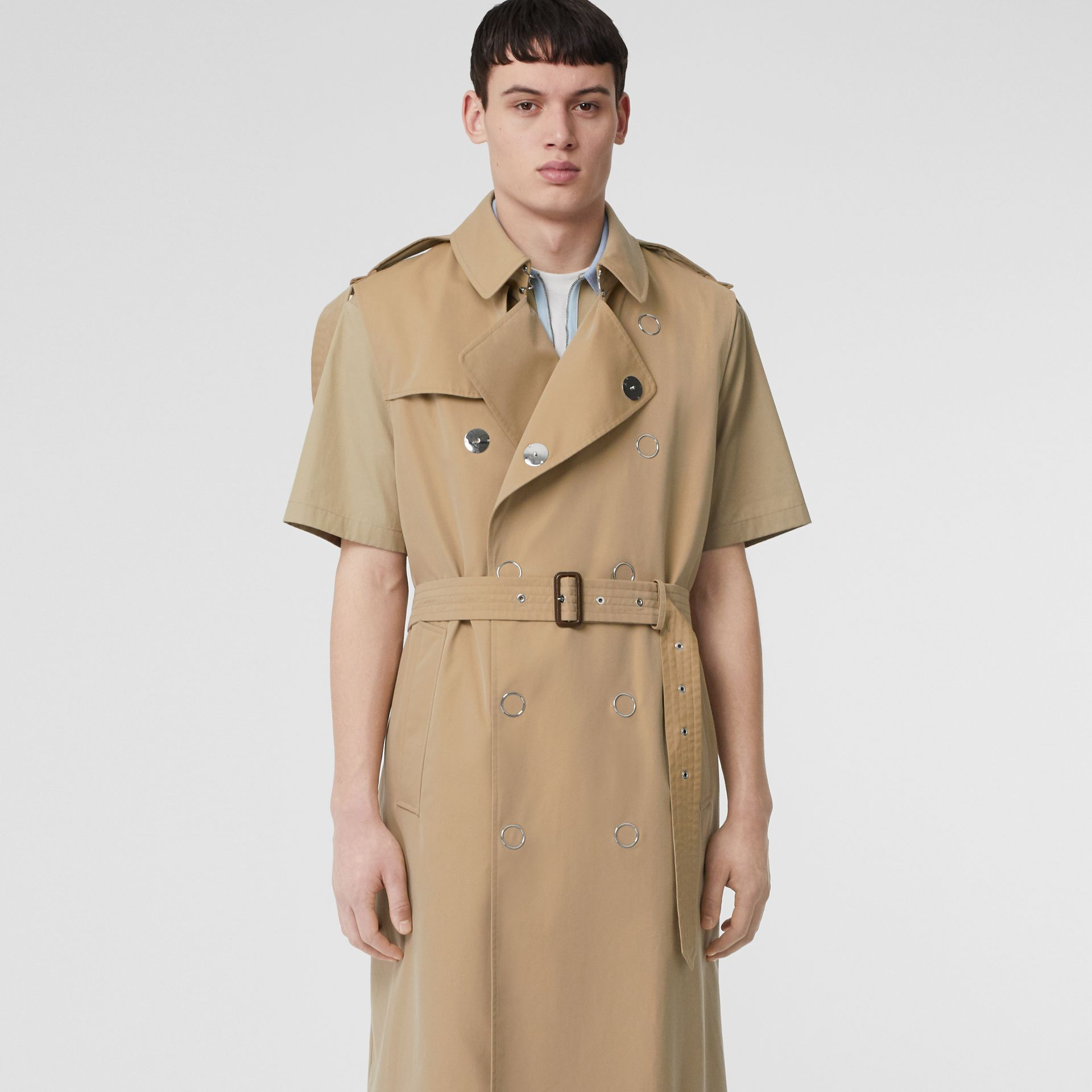 Sleeveless Cotton Gabardine Trench Coat in Honey | Burberry Australia - gallery image 0