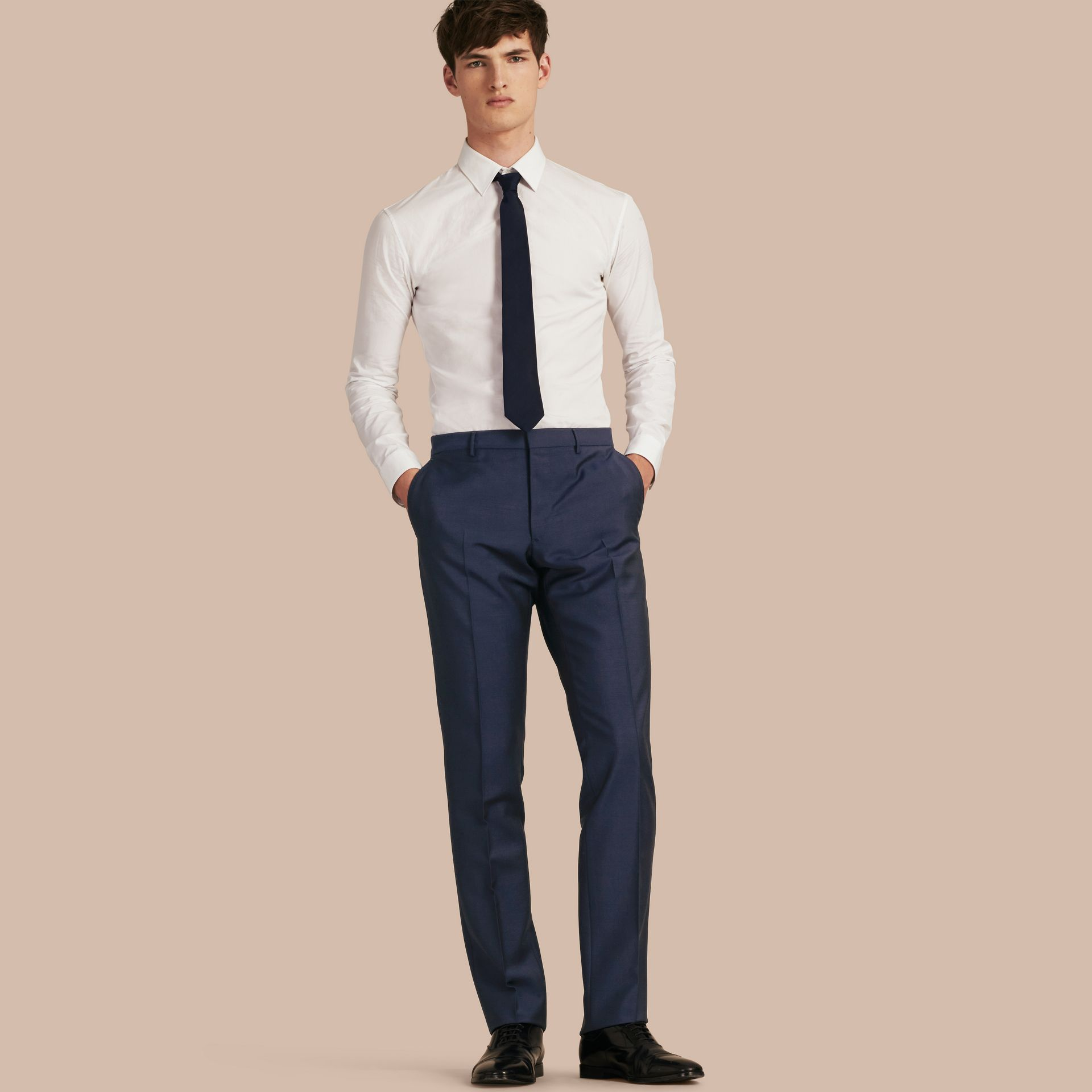 Modern Fit Wool Mohair Trousers Royal Navy - gallery image 1