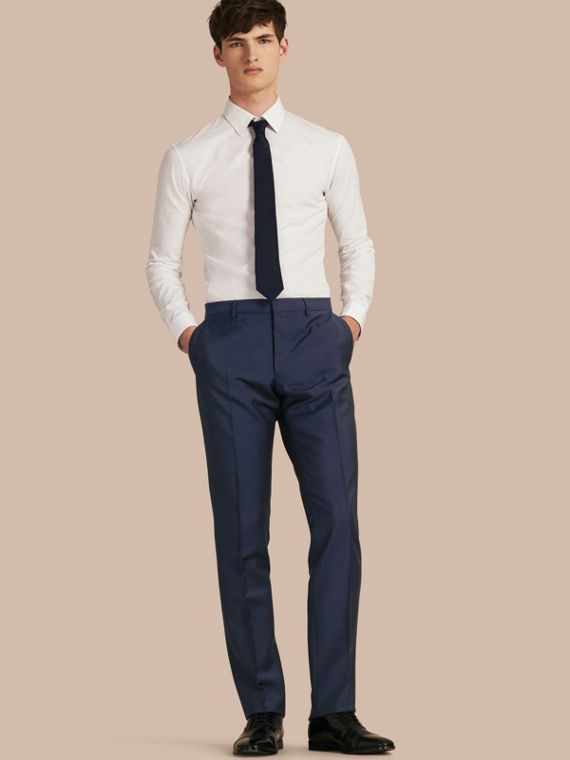 Modern Fit Wool Mohair Trousers Royal Navy