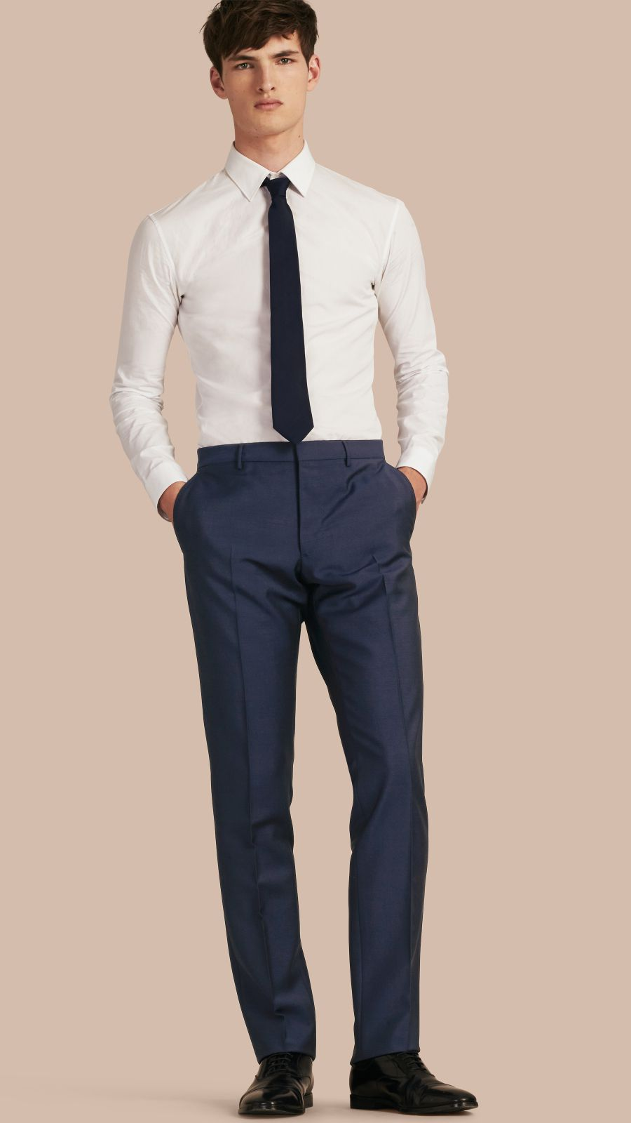 Royal navy Modern Fit Wool Mohair Trousers Royal Navy - Image 1