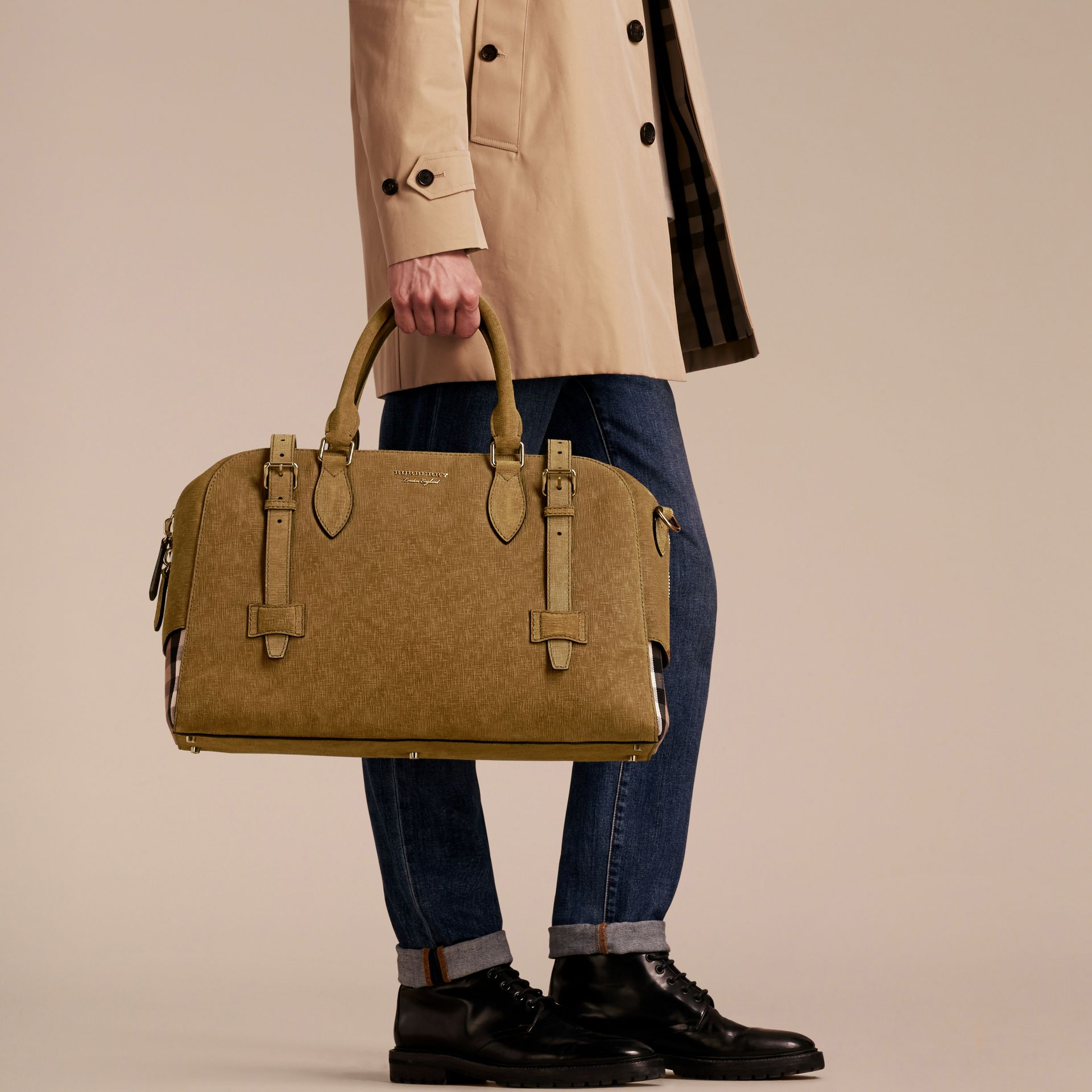 Textured Suede and House Check Detail Holdall - gallery image 7