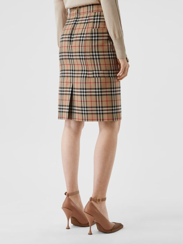 Pocket Detail Vintage Check Wool Pencil Skirt in Archive Beige - Women | Burberry - cell image 2