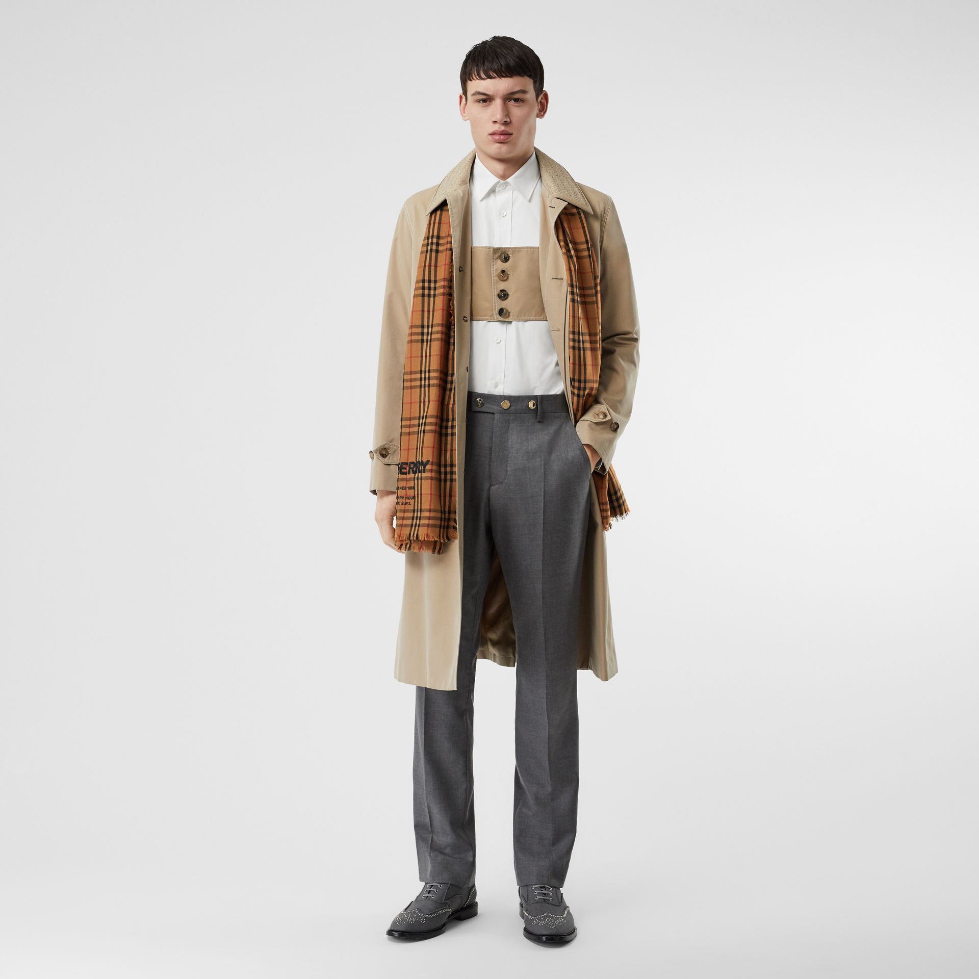 Embroidered Vintage Check Lightweight Cashmere Scarf in Camel | Burberry Singapore - gallery image 6
