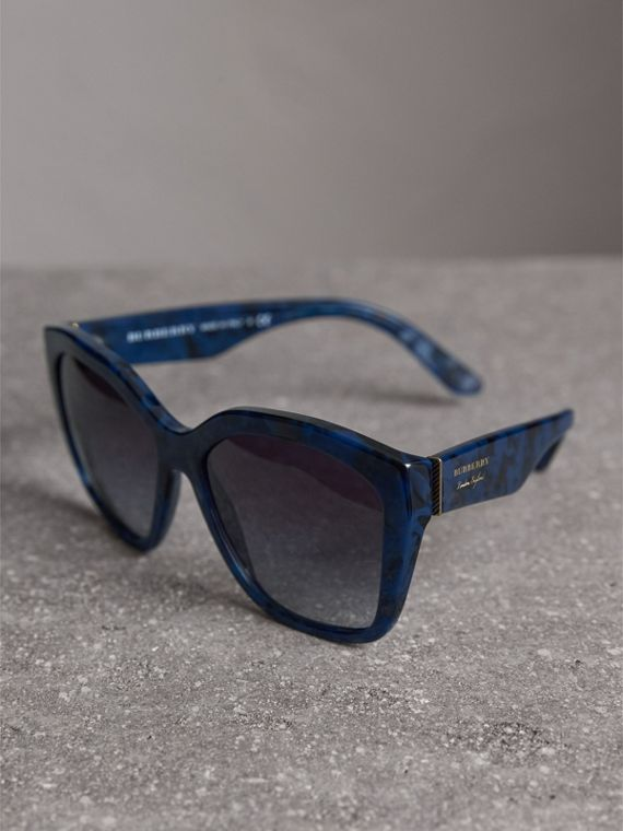 Square Frame Sunglasses in Blue - Women | Burberry - cell image 2
