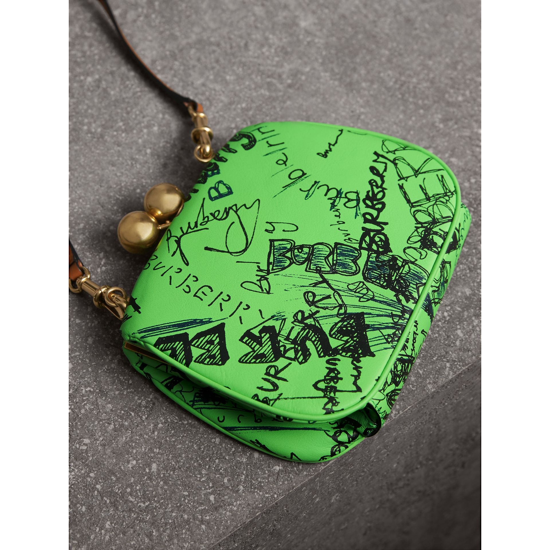 Small Doodle Print Leather Metal Frame Clutch Bag in Neon Green - Women | Burberry - gallery image 4